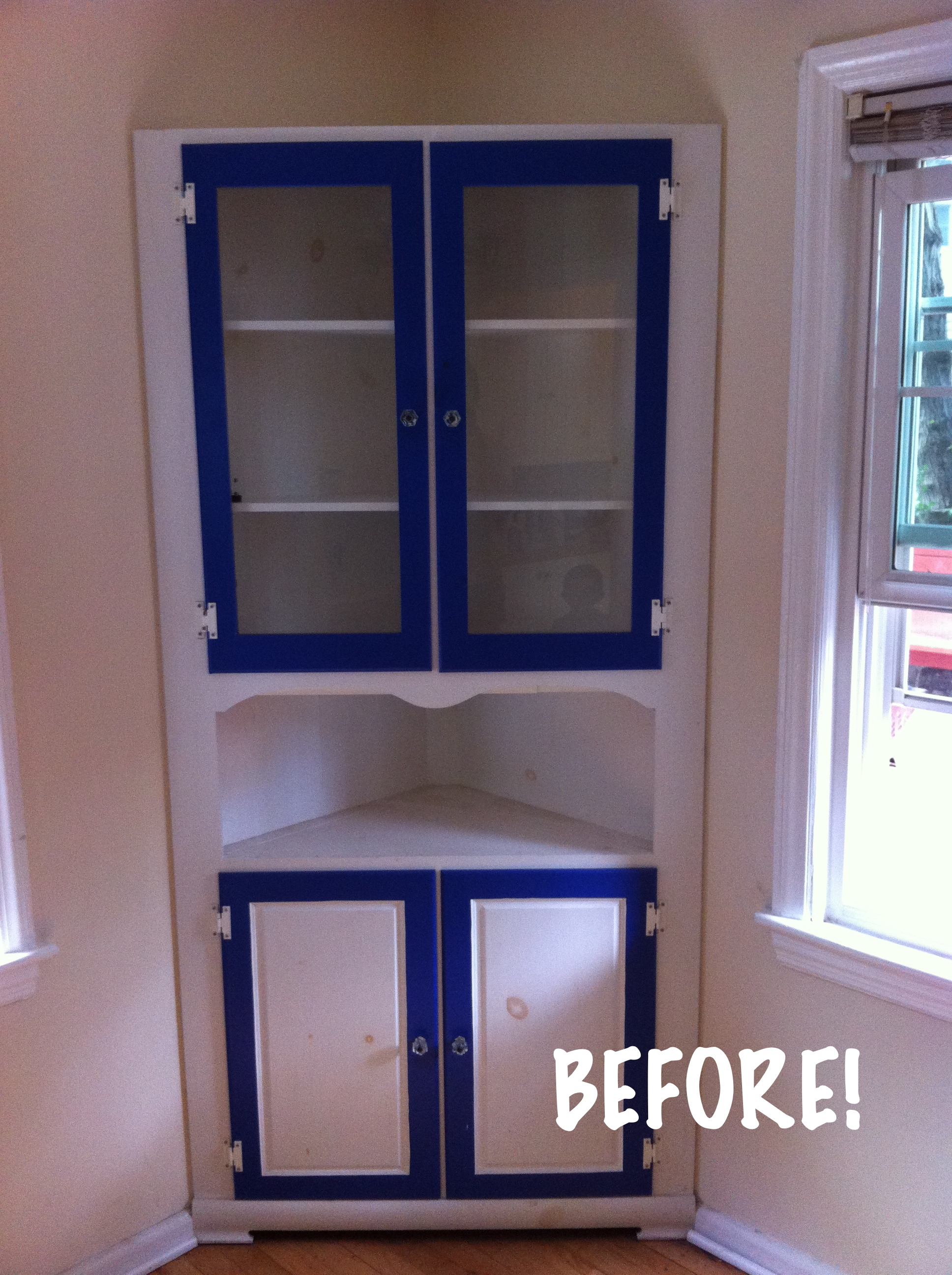 A Nice Paint Makeover For Knotty Built In China Cabinet All Things New Again